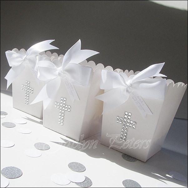 White Rhinestone Cross Popcorn Favor Boxes - Jaclyn Peters Designs - 2
