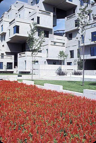 Flowers in front of Habitat 67, a housing complex built in Montreal for Expo 67 / Des fleurs devant Habitat 67, un ensemble résidentiel construit à Montréal à l'occasion d'Expo 67 | by BiblioArchives / LibraryArchives