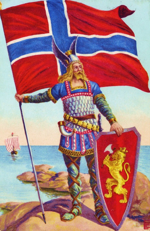another pinner says, NORWAY: The Viking and his Flag__  and WHO discovered these Lands first? Christopher WHO?  Ha! ;-D