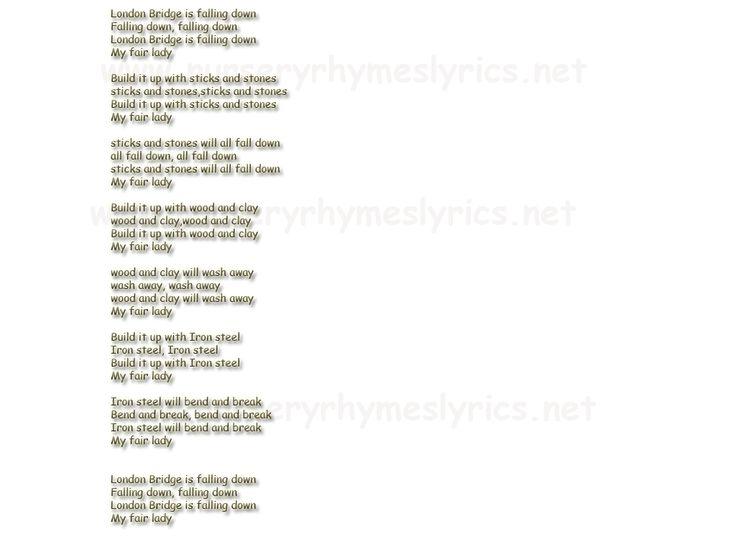Nursery Rhymes Lyrics London Bridge is falling down