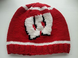 This is a pattern for a hat with the Wisconsin Badgers Motion W logo.