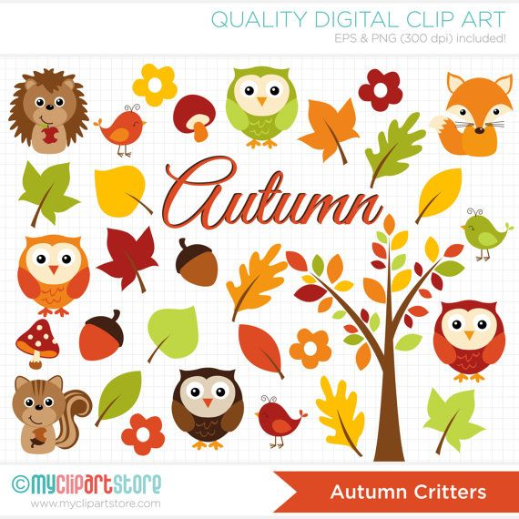 Fall Leaves Clip Art Wallpaper Autumn Critters Clipart Fall Animals Owl Fox Hedgehog