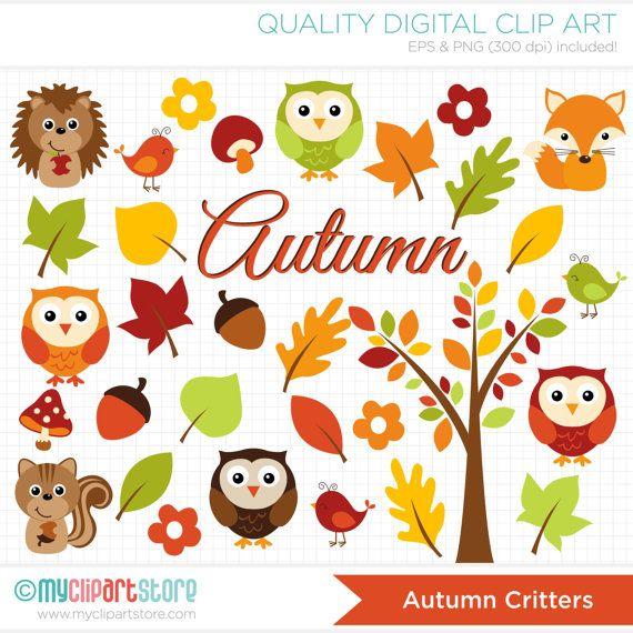 Fall Woodland Creatures Wallpaper Autumn Critters Clipart Fall Animals Owl Fox Hedgehog
