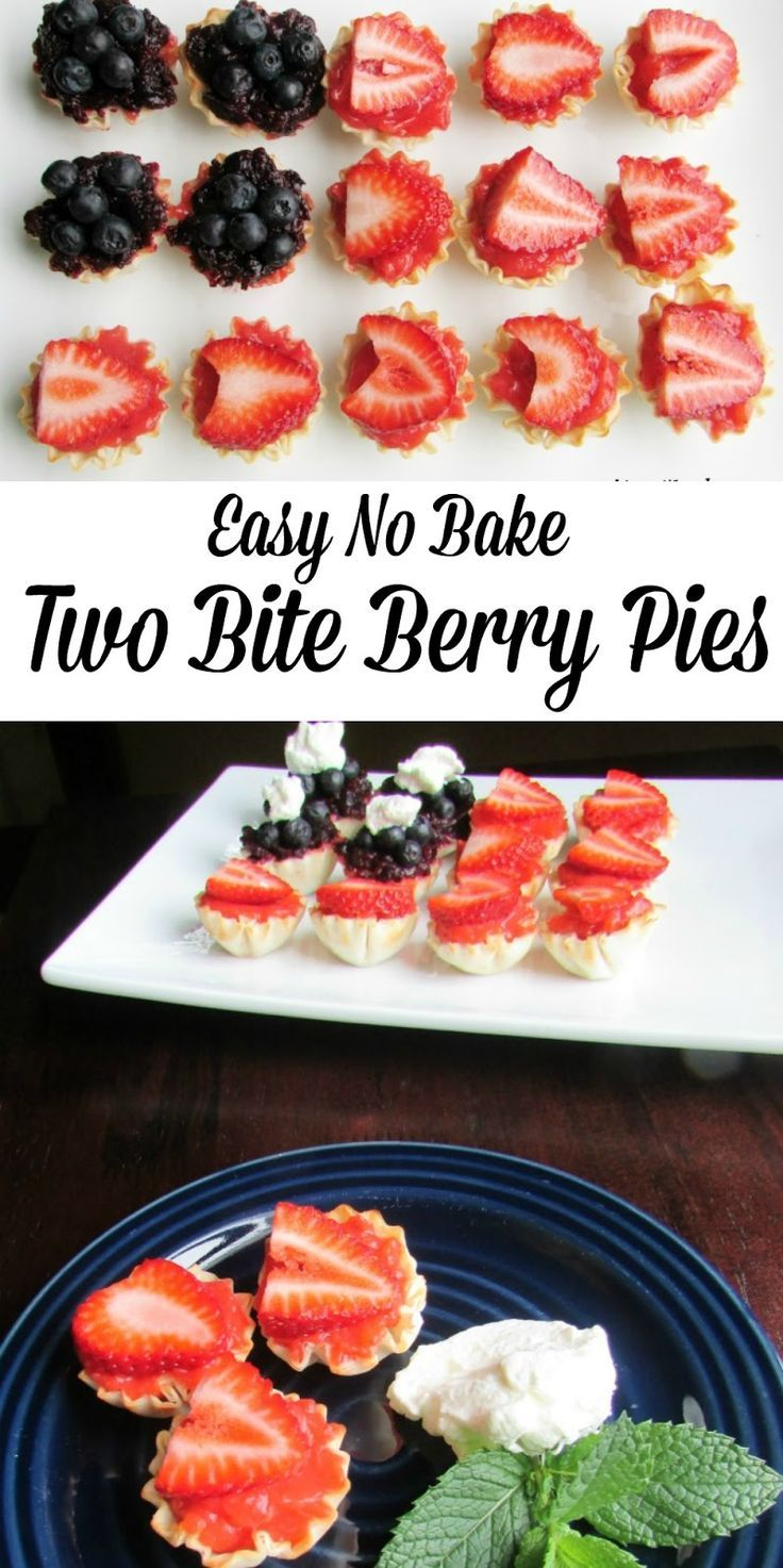 These Easy No Bake Two Bite Berry Pies are perfect for a summer party.  It is a quick dessert that you can prep ahead.  All you have to do the day of your party is assemble. Perfect for the 4th of July! #SundaySupper