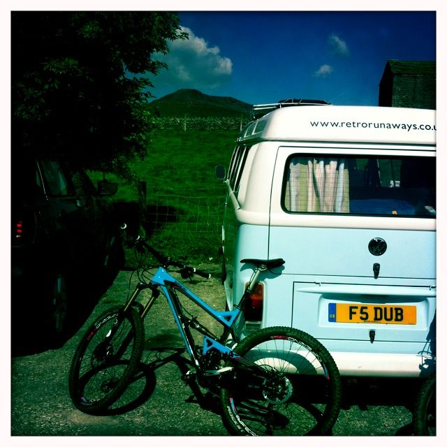 Mountain biking at Embsay, camper in tow