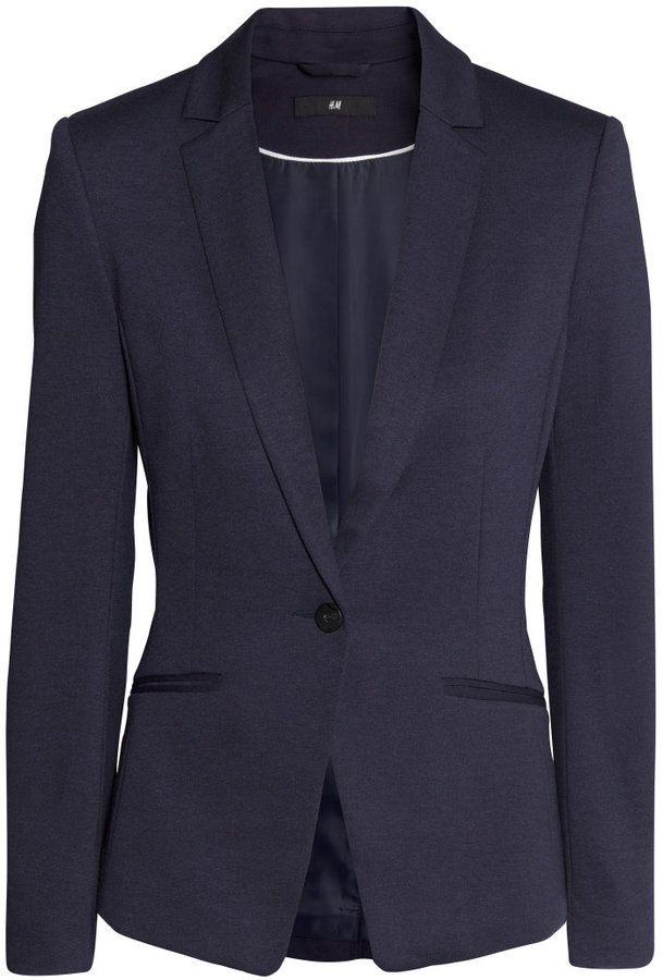 H&M Jersey Blazer - Dark blue - Ladies on shopstyle.com