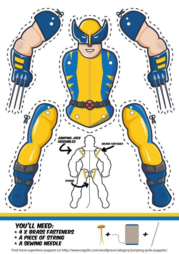 Superhero Wolverine as a Jumping Jack. Dowload template free. Another cool superhero cut out puppet.
