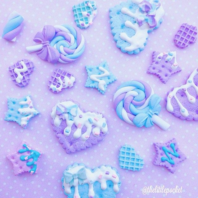 ❄️Purple & Blue ☁️☁️❄️ #lollipops #biscuits #sweets #polymerclay