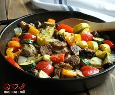Chicken Sausage and Vegetable Skillet - use olive oil & use less. Low Carb, Paleo, Gluten Free
