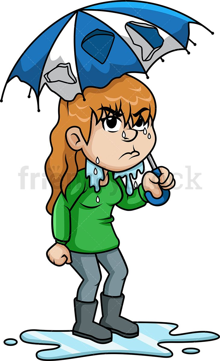 Upset Woman Getting Wet In The Rain  Vector Illustrations -1086