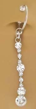 Fake Belly Navel Non Clip on Piercing Cz Long Sexy Strand Dangle Ring
