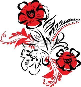 Русский традиционный орнамент. Дейзи и листья дизайн photo