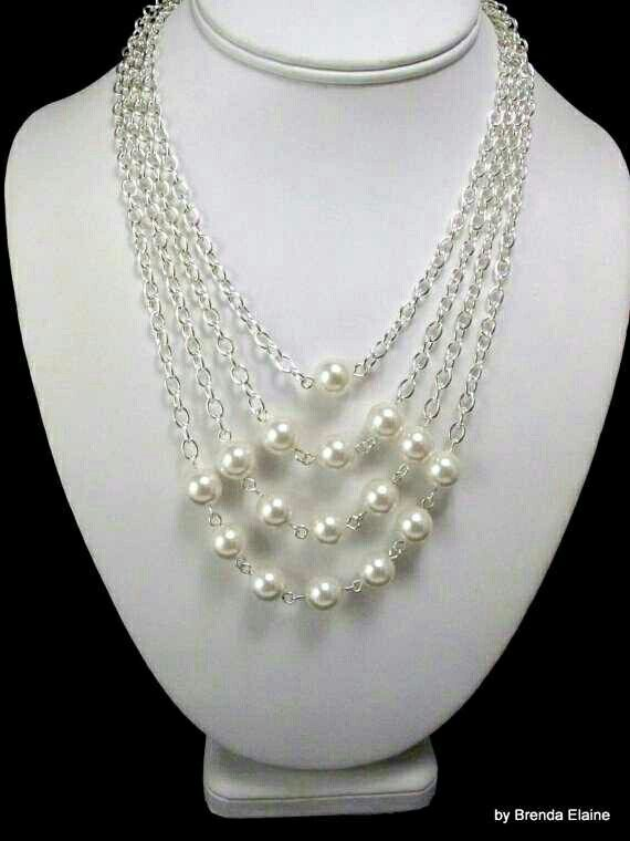 4 chain, 16 pearls #necklace