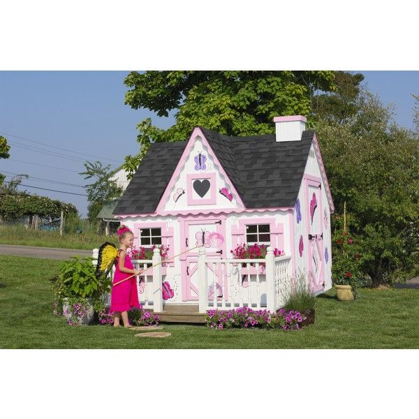 Victorian Backyard Playhouse : The Amish Made Victorian Kids Outdoor Playhouse Kit Pinecraft Com