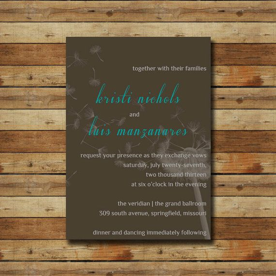 Dandelion Wedding Invitation Simple Modern Basic (digital file) choose your colors