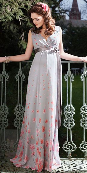 Jasmine Maternity Gown Long (Peach Blossom) by Tiffany Rose.   This would be pretty even after pregnancy.