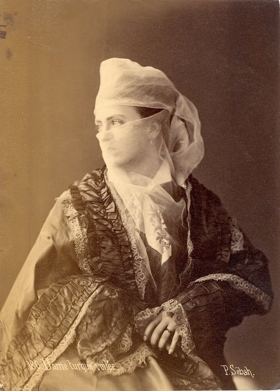 Veiled Turkish Lady by Pascal Sébah, 1880s Istanbul.  http://www.ottomanhistorypodcast.com/p/historical-photographs.html
