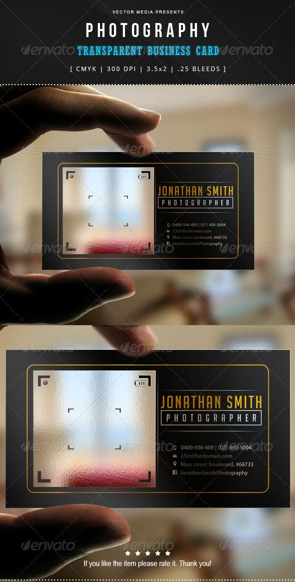 Photography - Transparent Business Card   Download: http://graphicriver.net/item/photography-transparent-business-card/7606176?WT.ac=category_thumbWT.z_author=VectorMediaref=ksioks