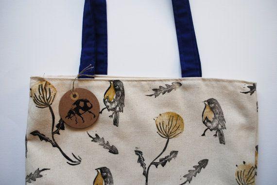 Block Printed Robin Dandelion Pattern Tote Bag // Canvas, Yellow & Blue