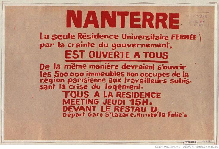 [Mai 1968]. Nanterre la seule résidence universitaire fermée..., Atelier populaire ex Ecole des Beaux-arts : [affiche] / [non identifié]