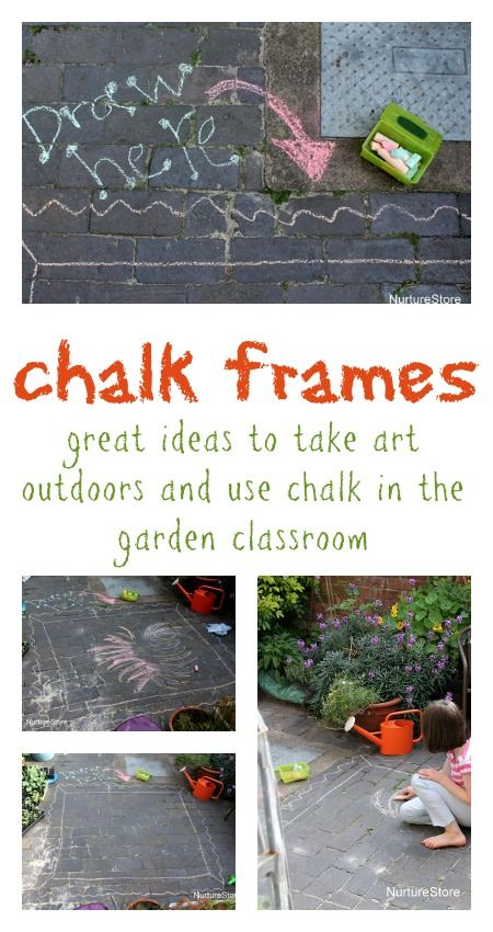 Take kids art outdoors with chalk frames