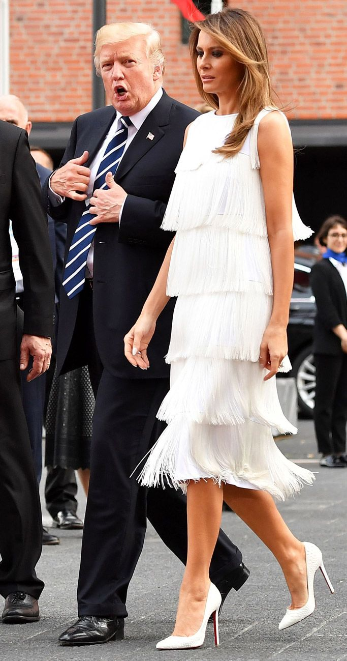 Melania Trump Dazzles In Flapperstyle Fringe Dress & Python Pumps At G20  Concert