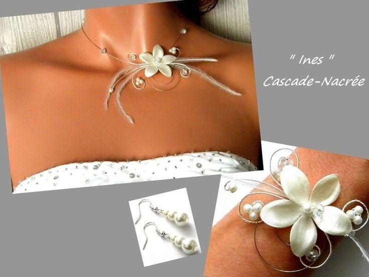 parure mariage fleurs plume ivoire cristal fleurs de soie perle : Parure par bijoux-cascade-nacree