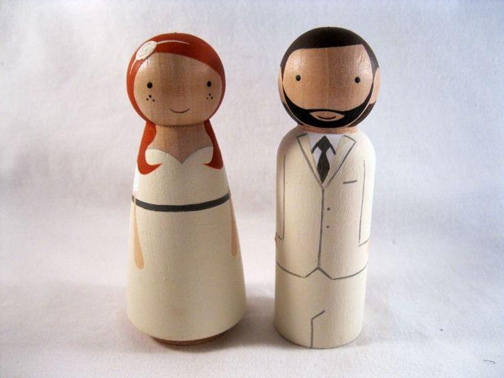 Personalized Peg Doll Wedding Cake Topper by knottingwood on Etsy https://www.etsy.com/listing/53776700/personalized-peg-doll-wedding-cake