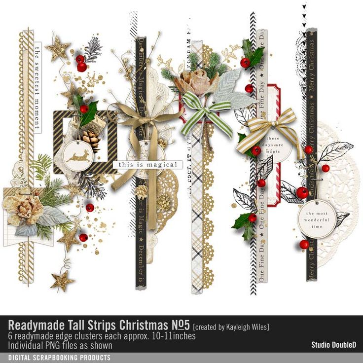 Readymade Tall Strips: Christmas No. 05 seasons finest clustered strips of scrapbook embellishments #designerdigitals