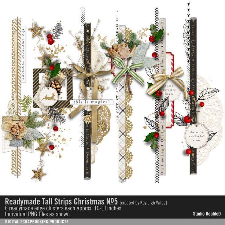 Readymade Tall Strips: Christmas No. 05 seasons finest clustered strips of scrapbook embellishments #designerdigitals