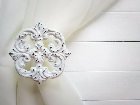 Two Metal Curtain Tie Backs / Curtain Tiebacks / Curtain Holdback / Drapery Tie Back / Shabby Chic Window / White Home Decor / Curtain Hook