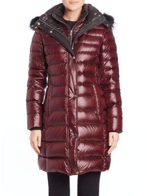ANDREW MARC Gayle Fox Fur-Trimmed Puffer Coat. #andrewmarc #cloth #coat