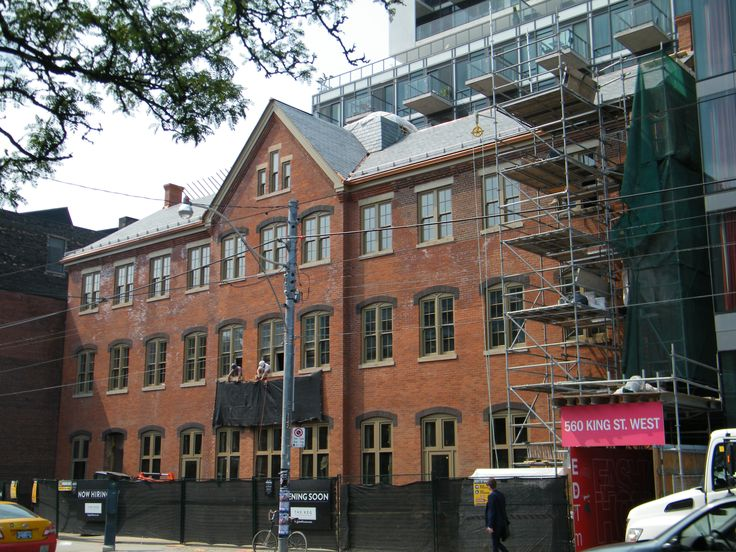 Built in 1882 for James A Watt's Toronto Silver Plate Company, the building is a classic example of a late 19th century industrial building; 4 story rectangular shaped, red brick cladding, stone trim, and slate gable roof. The company was the first in Canada to manufacture silver plated products and remained in business until 1929.