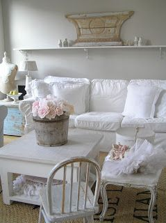 Pastels And Whites   White Slipcovered Couch  Shabby Chic.