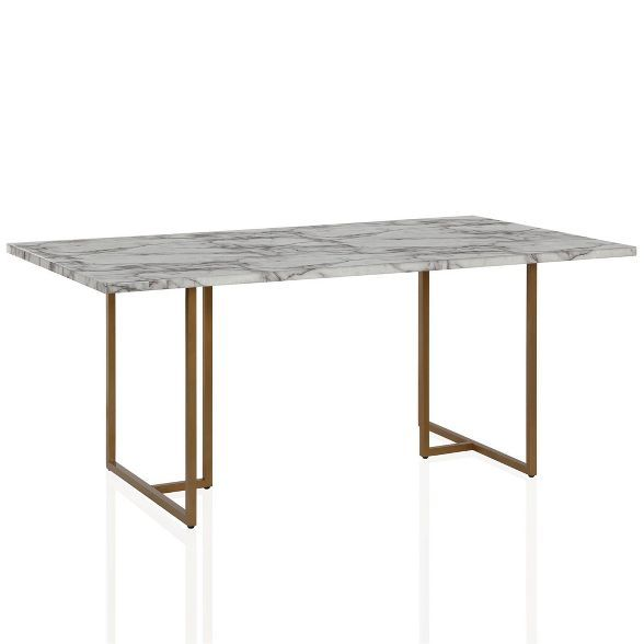 Edith Rectangular Faux Marble Dining Table White Gold Cosmoliving By Cosmopolitan Dining Table Marble Dining Table Marble Dining
