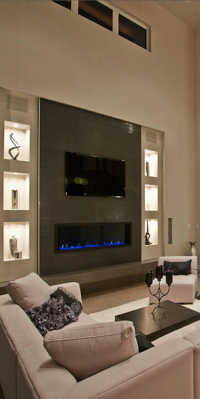 Дизайн гостиной, стена с ТВ, камин, ниши