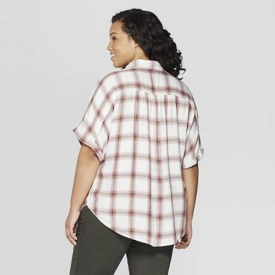 9c722839819 Women s Plus Size Plaid Short Sleeve Camp Shirt - Universal Thread Pink 4X
