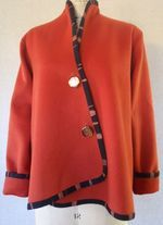 Persimmon wool jacket bound with hand painted trim 2010