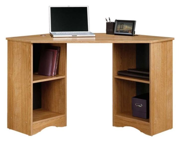 Corner Desk For Small Space Home Office Writing Desks Computer Table Oak Color #Sauder #Traditional