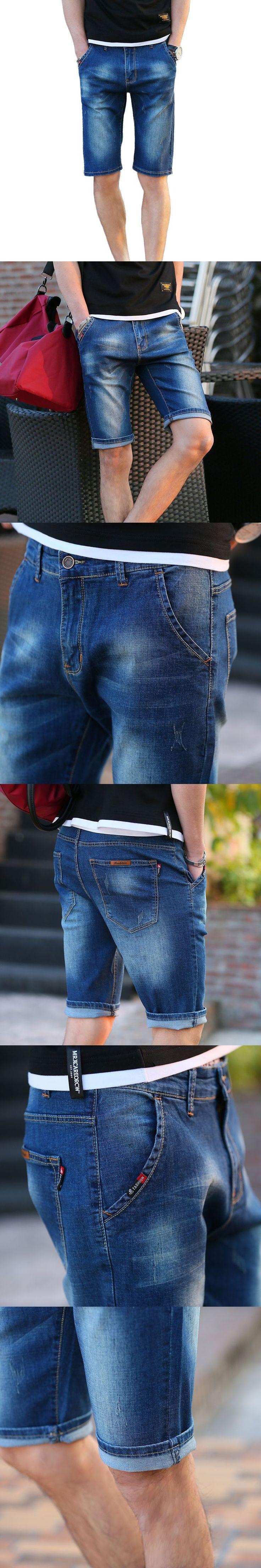Brand Mens Lightweight Stretch Denim Jean Shorts Blue Short Plus Size Jeans for Men Summer Mens Short Pants Trouser