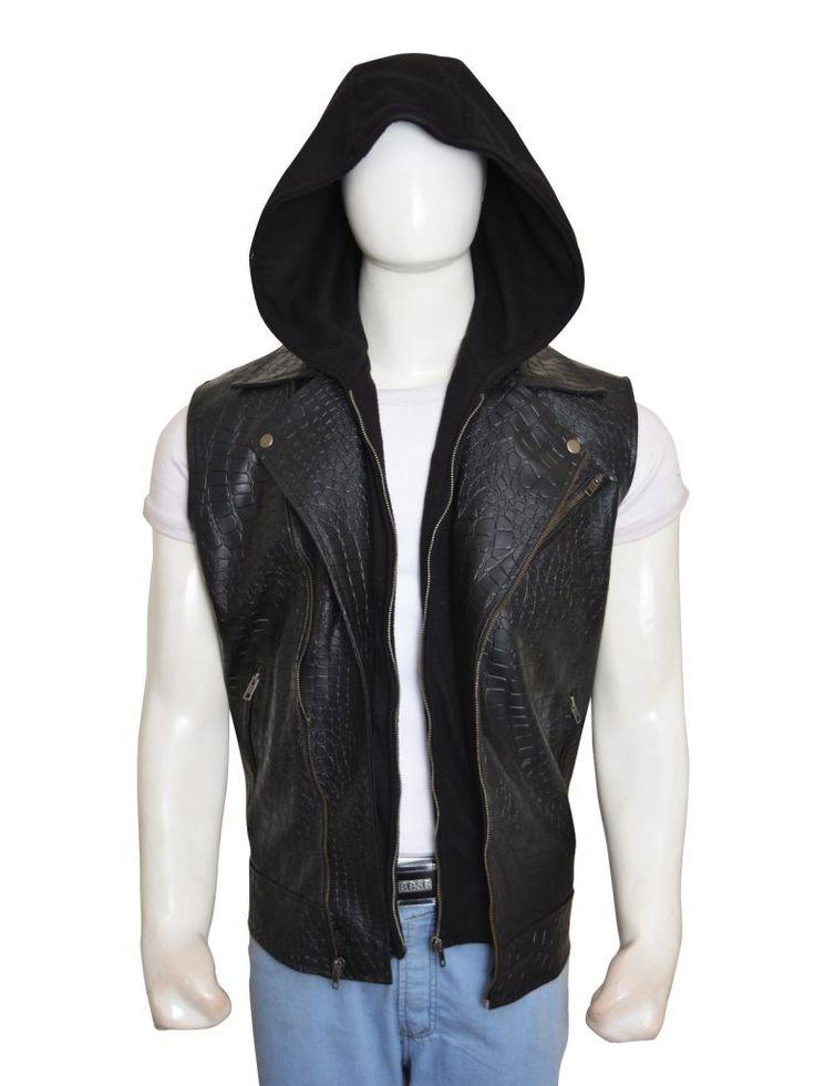 WWE AJ Styles Leather Hoodie Vest | Top Celebs Jackets