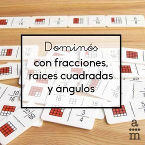 Los dominós con fracciones, raíces cuadradas y ángulos son unos materiales estupendos para practicar el cálculo mental relacionado con estos temas.