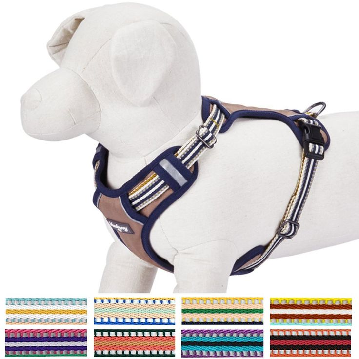 """Blueberry Pet 9 Colors Soft & Comfy 3M Reflective Multi-colored Stripe Padded Dog Harness Vest, Chest Girth 21""""-26"""", Neck 17.5""""-26"""", Olive & Blue-gray, Medium, Mesh Harnesses for Dogs"""