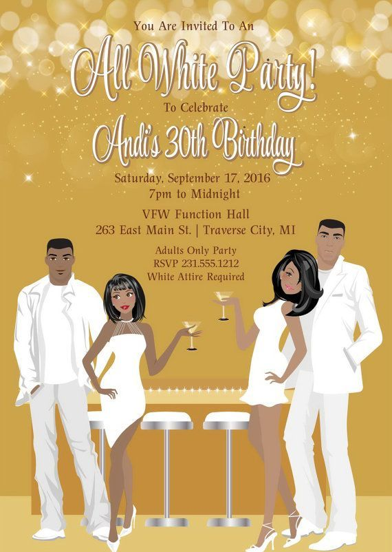 All White Party Invitation White Birthday Party Invite Choose