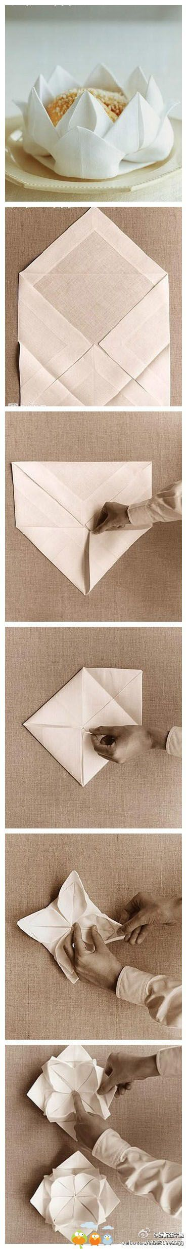 napkin folding techniques @Annamarie Fontaine collection