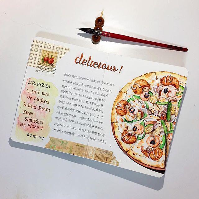mr.pizza #文具 #文房具 #手帳 #手帳好朋友 #手帳生活 #紙膠帶 #mt #日記 #絵日記 #絵 #水彩 #notebook #手帳ゆる友 #旅人手帳 #落書き #journal #mdnotebook #diary #journaling #fooddrawing #drawing #draw #foodillustration #pizza #pizza #pizzatime