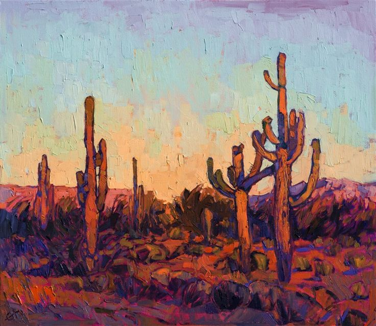 $5,000 30 c 26 Saguaro desert oil painting for art collectors, by modern impressionist Erin Hanson