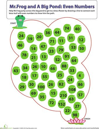 Worksheets: Mr. Frog and A Big Pond: Identifying Even Numbers
