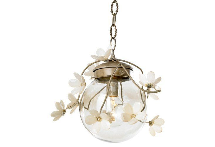 Globe Floral Branches Pendant, White