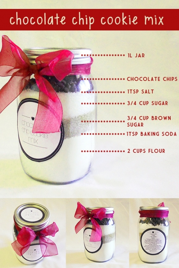 DIY Party Favor: Chocolate Chip cookies in a mason jar. Just 1 cup butter, 1 egg and 1 tsp vanilla